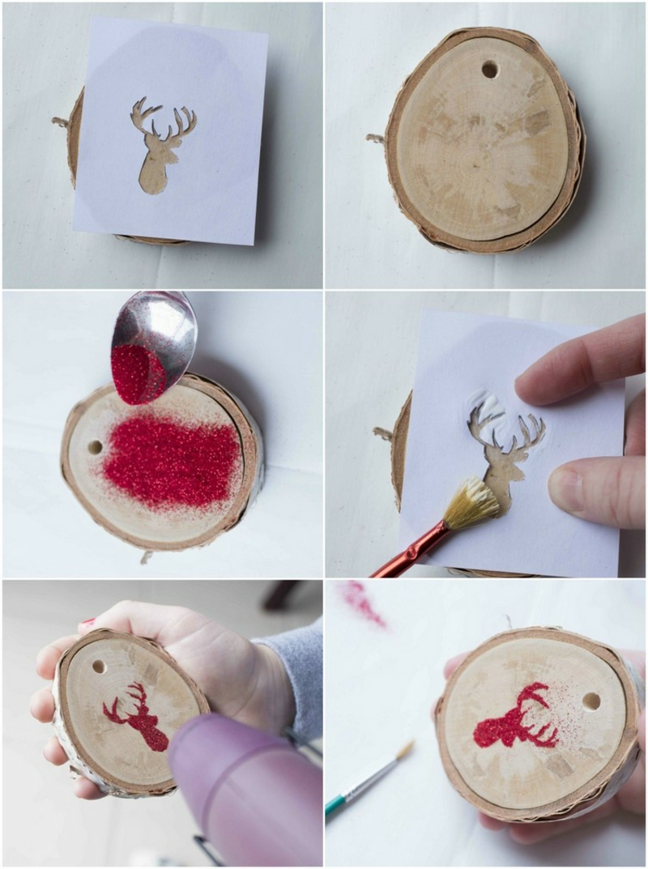 Holzscheiben verzieren Anleitung