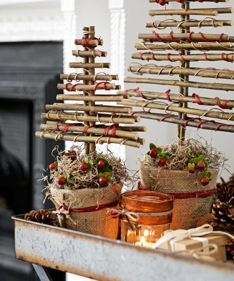 Weihnachtsbäume aus Holz basteln dekorativ