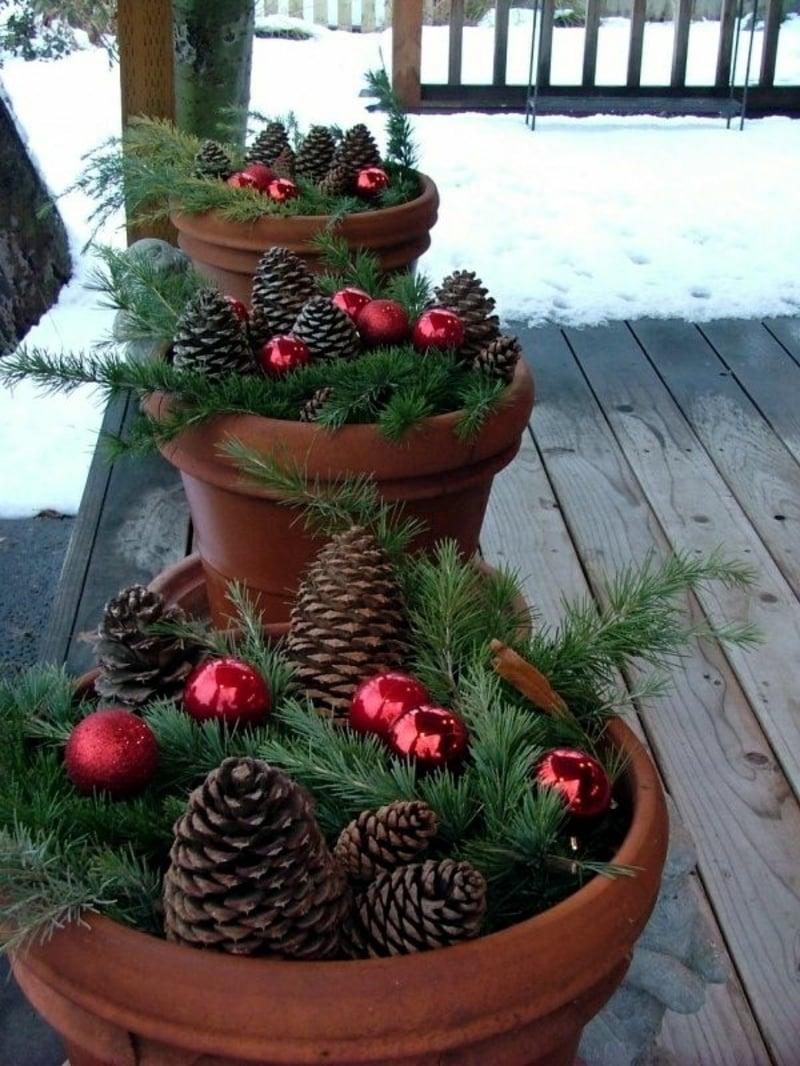 Basteln mit Naturmaterialien Weihnachten Terrasse