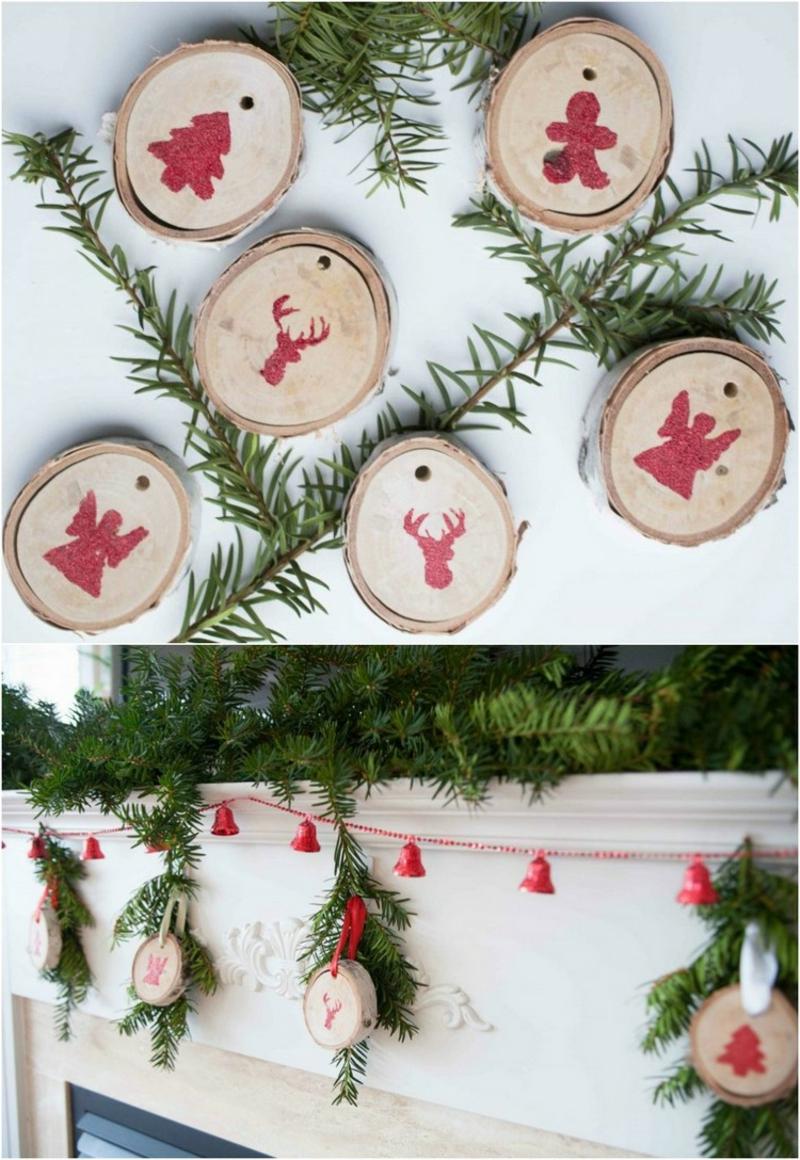 Basteln mit Naturmaterialien Weihnachten Holzscheiben