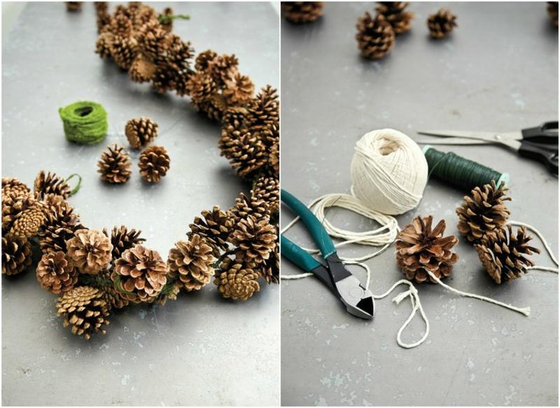 Basteln mit Naturmaterialien Weihnachten Girlande toll