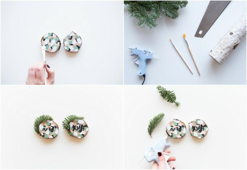 Basteln mit Naturmaterialien Weihnachten Tischdeko Namensschilder machen
