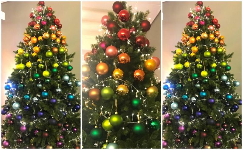 Weihnachtsbaum dekorieren Ombre Effekt