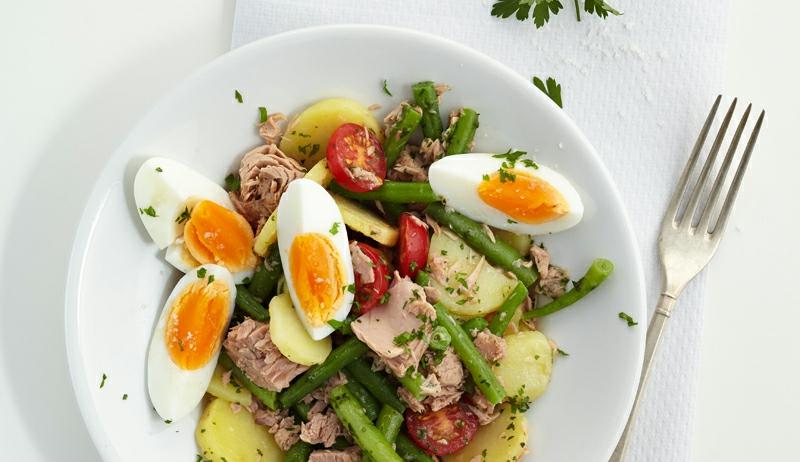 Thunfisch Rezepte Salat mit Eiern und Bohnen