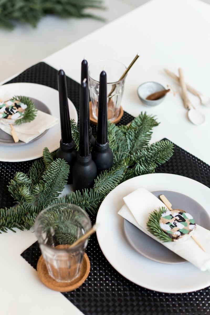 Basteln mit Naturmaterialien Weihnachten stilvolle Tischdeko