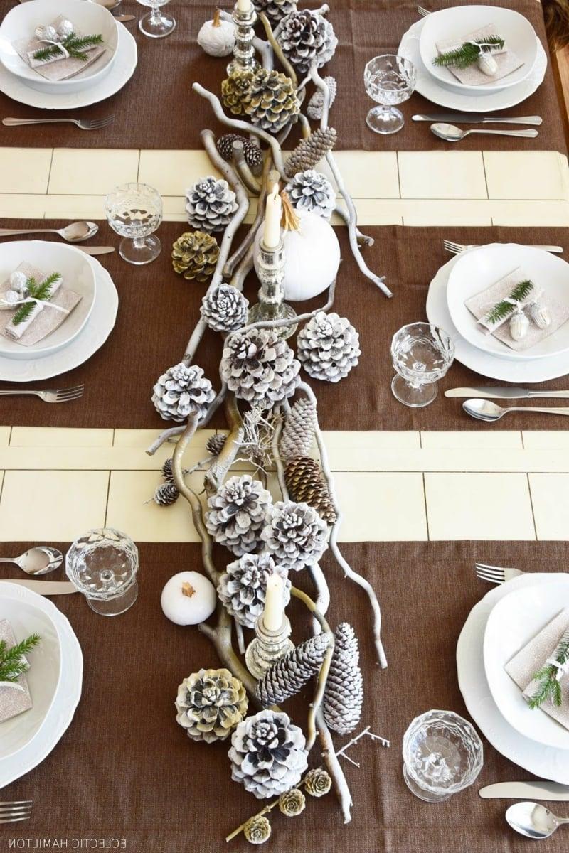 Tischdeko elegant Naturmaterialien weiß