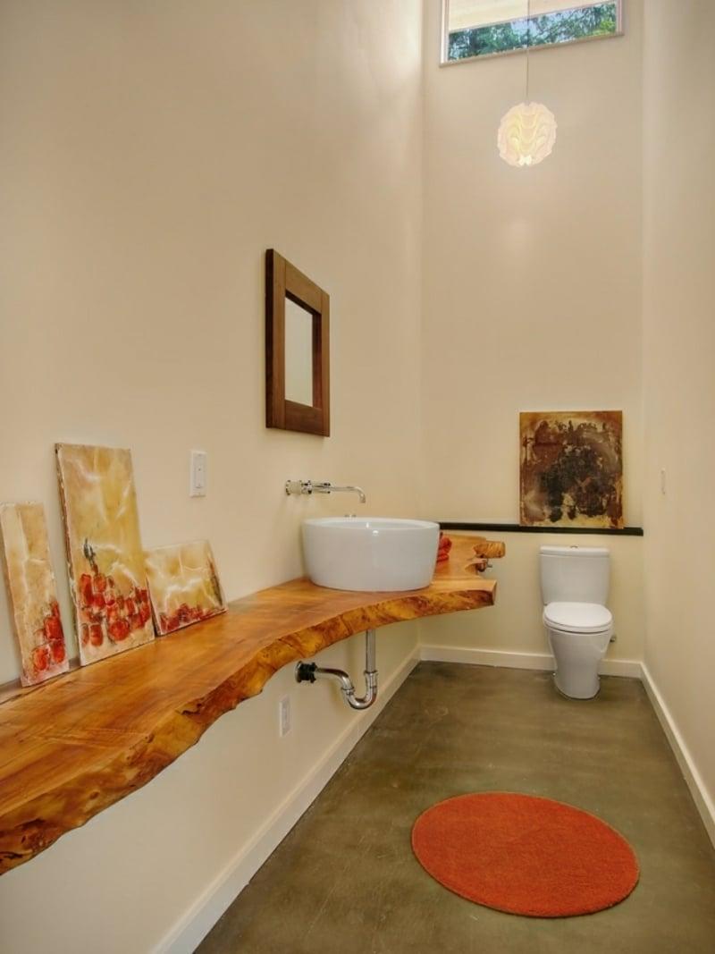 Aufsatzwaschbecken Keramik Holzplatte elegant