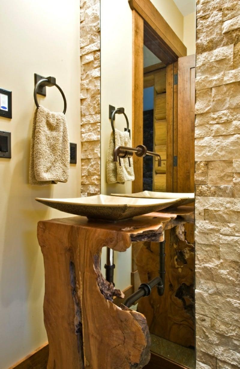 Keramin Waschbecken modern Holzunterschrank rustikal