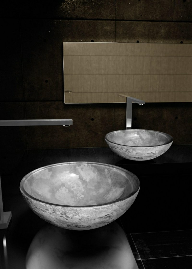 Aufsatzwaschbecken glas Mrmor herrlicher Look
