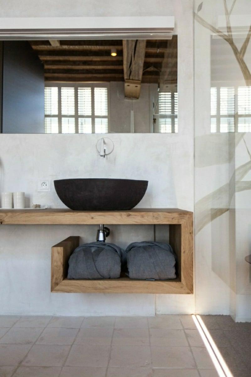 Waschbecken freistehnd Holzplatte modern