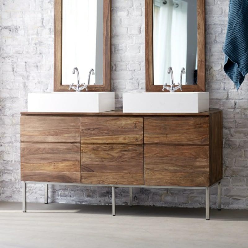 Doppelwaschtisch Holz Schrank Aufsatzwaschbecken