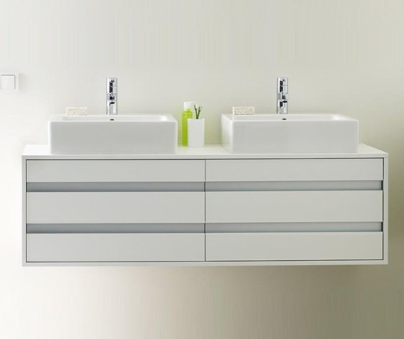 Unterschrank weiß modern Aufsatzwaschbecken