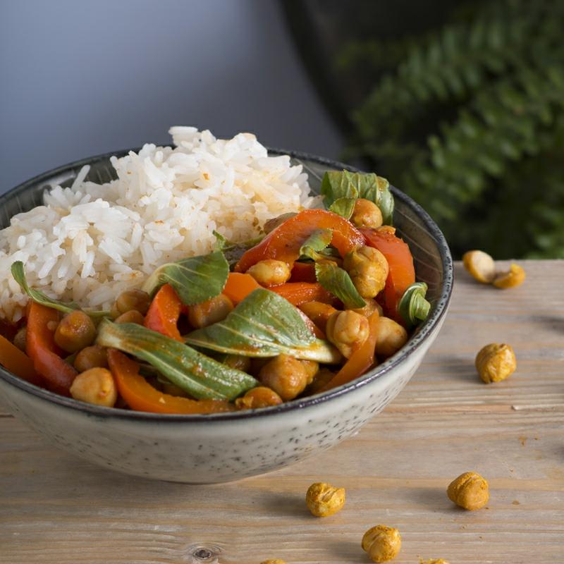 Pak Choi Rezepte Curry mit Reis und Kichererbsen