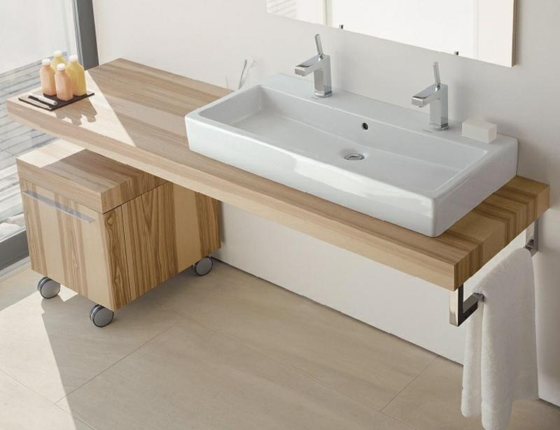Doppelwaschbecken Holzplatte