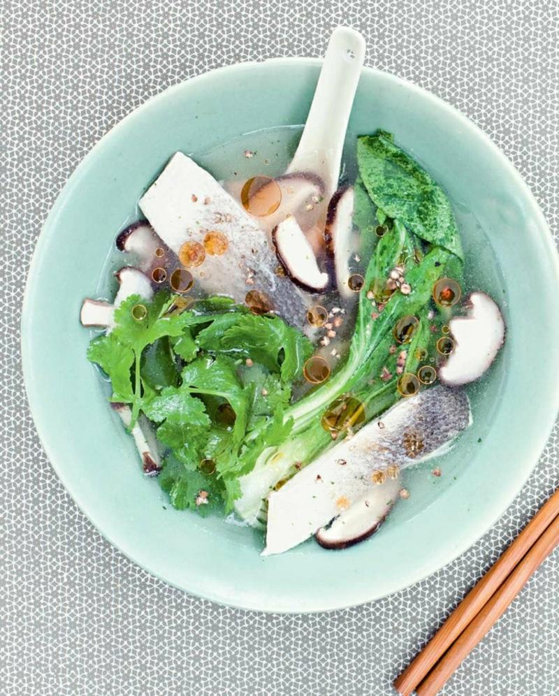 Pak Choi Rezepte Fischsuppe mit Shiitake-Pilzen