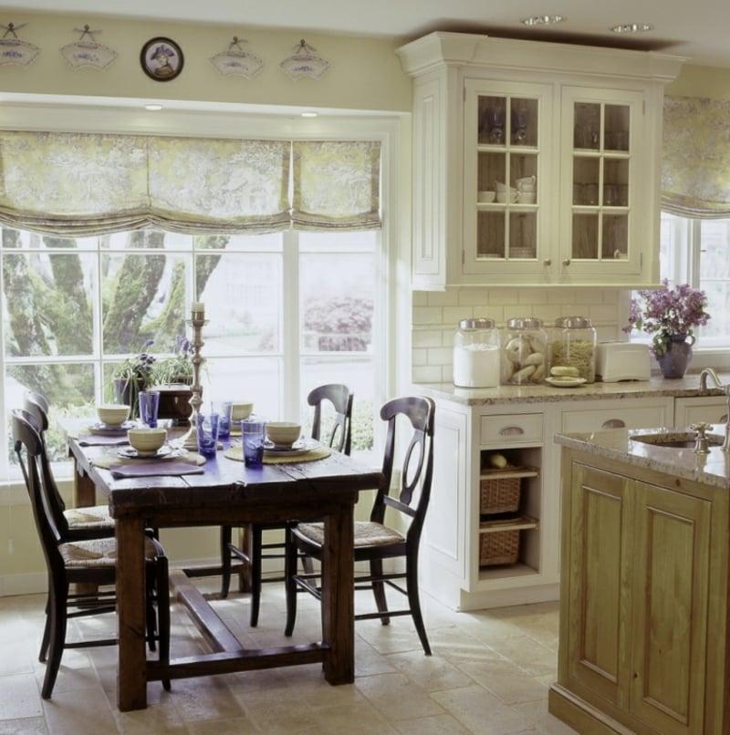 Gardinen Küche Essbereich weiß feiner Stoff