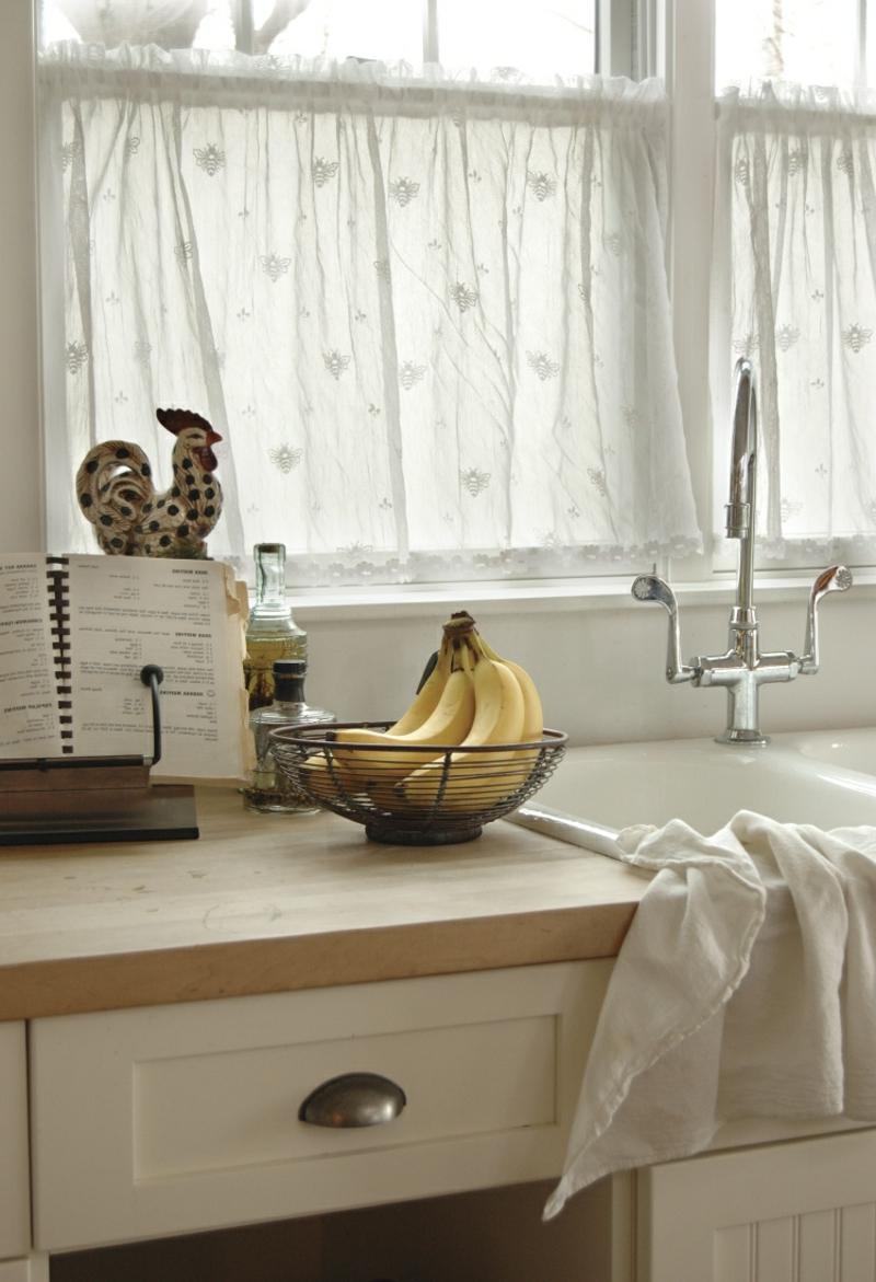 Küchengardinen weiß zart transparent