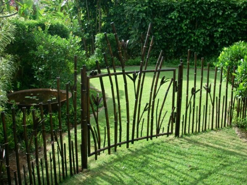 Gartentor Metall Bambus Imitation