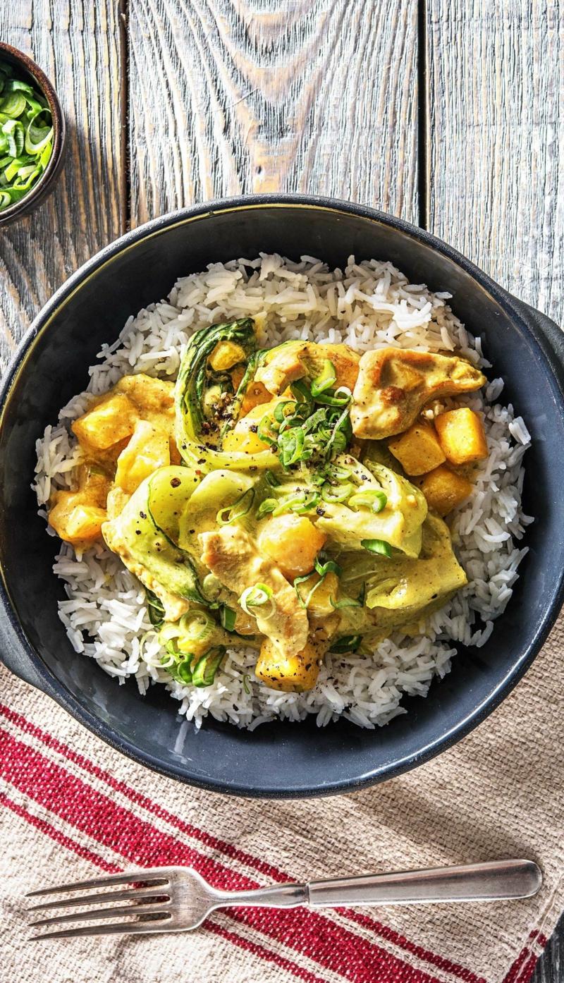 Curry selber machen mit Basmati-Reis und Pak Choi