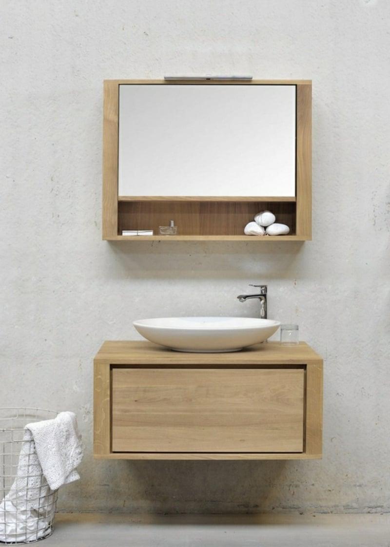 Schrank Massivholz Spiegel modernes Bad