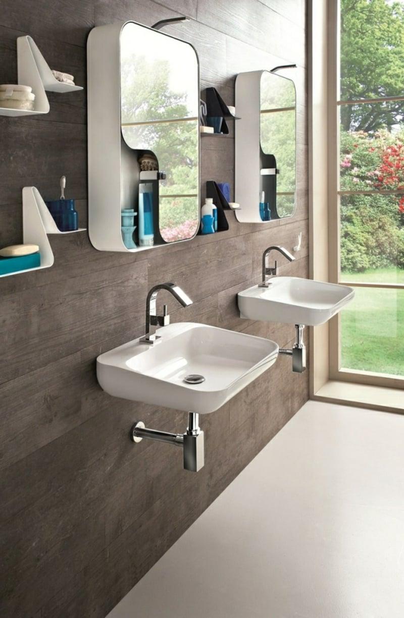 Badezimmer Spiegelschrank zwei Waschbecken