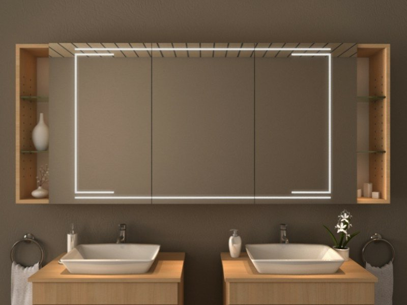 Badezimmer Spiegelschrank auswählen Beleuchtung eingebaut
