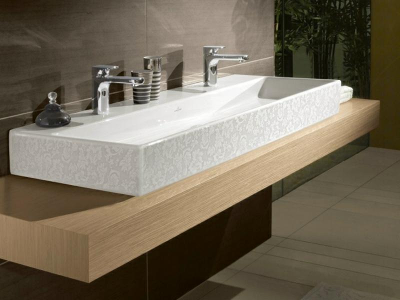 Doppelwaschtisch Holz Luxus Aufsatzwaschbecken