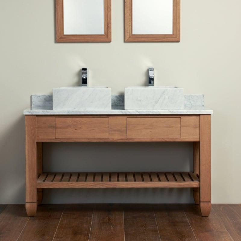 Doppelwaschtisch Aufsatzwaschbecken aus Keramik