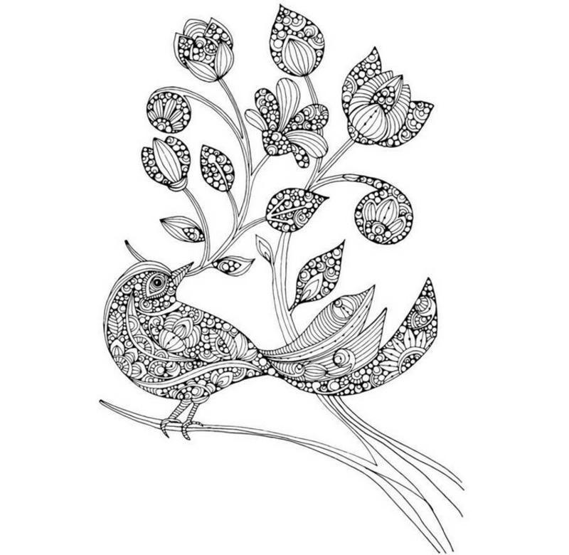 Mandala Vogel Ast Blumen