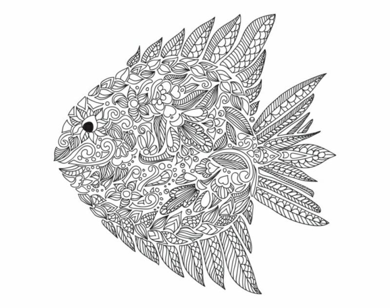 Zentangle Malvorlage Fisch