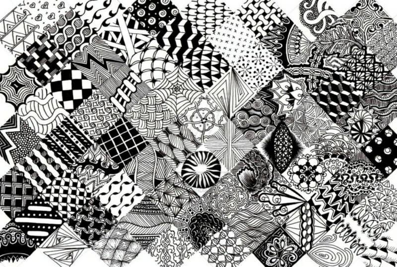 Ausmalbilder Erwachsene Zentangle geometrische Figuren