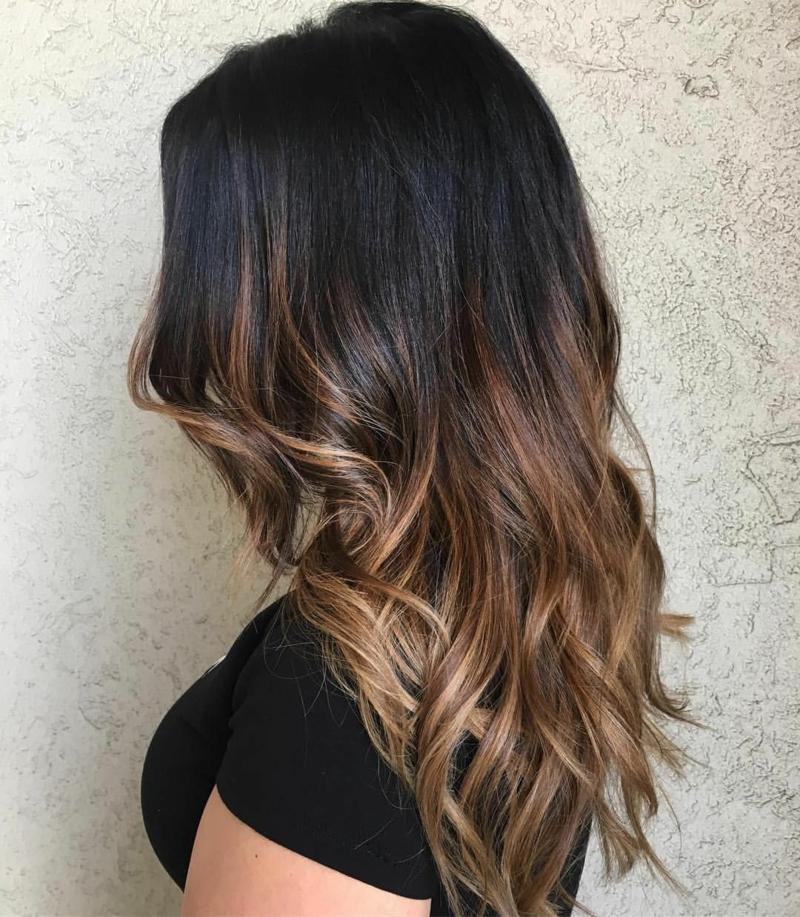 Haarfarbe Kaffee Balayage