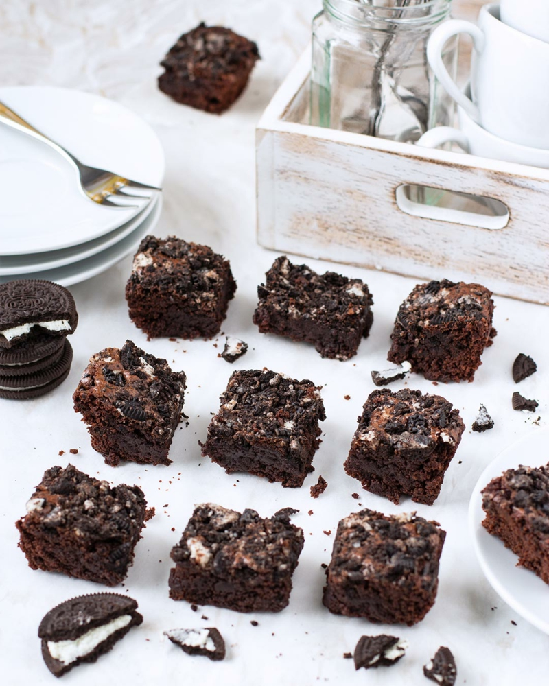 Oreo Brownies backen lecker