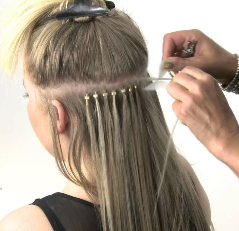 Haarverlängerung Extensions Strähne für Strähne befestigen