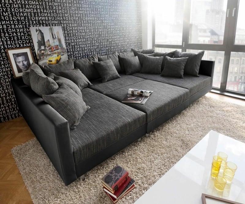 XXL Sofa kuschelweich grau