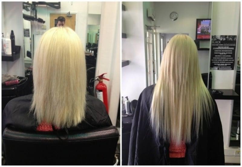 Extensions befestigen blondes Haar vorher nachher