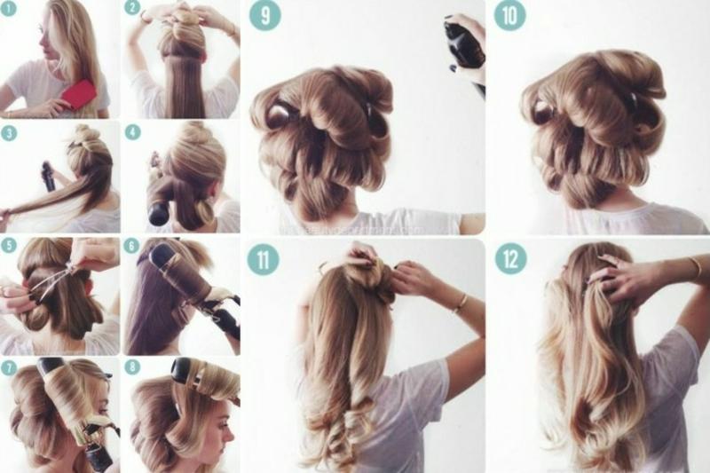Haare wickeln und um den Lockenstab drehen Anleitung