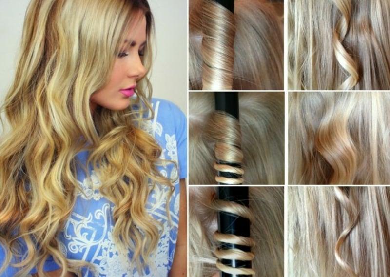 blonde Haare locken Lockenstab