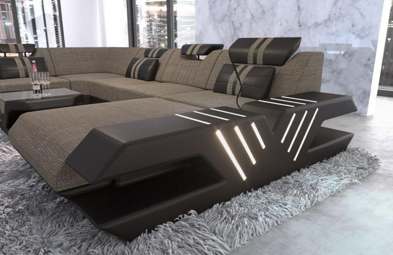 XXL Sofa ungewöhnliches Design eingebaute LED-Leuchten