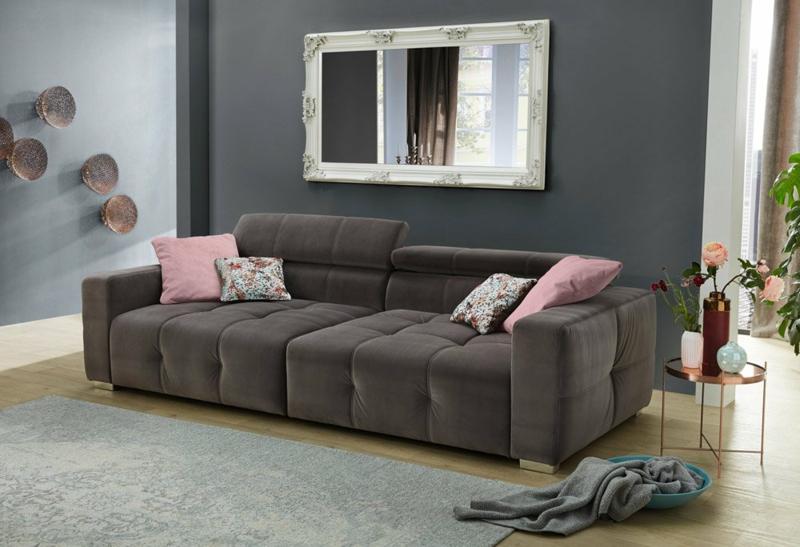 XXL Sofa dunkelgrau ausklappbar