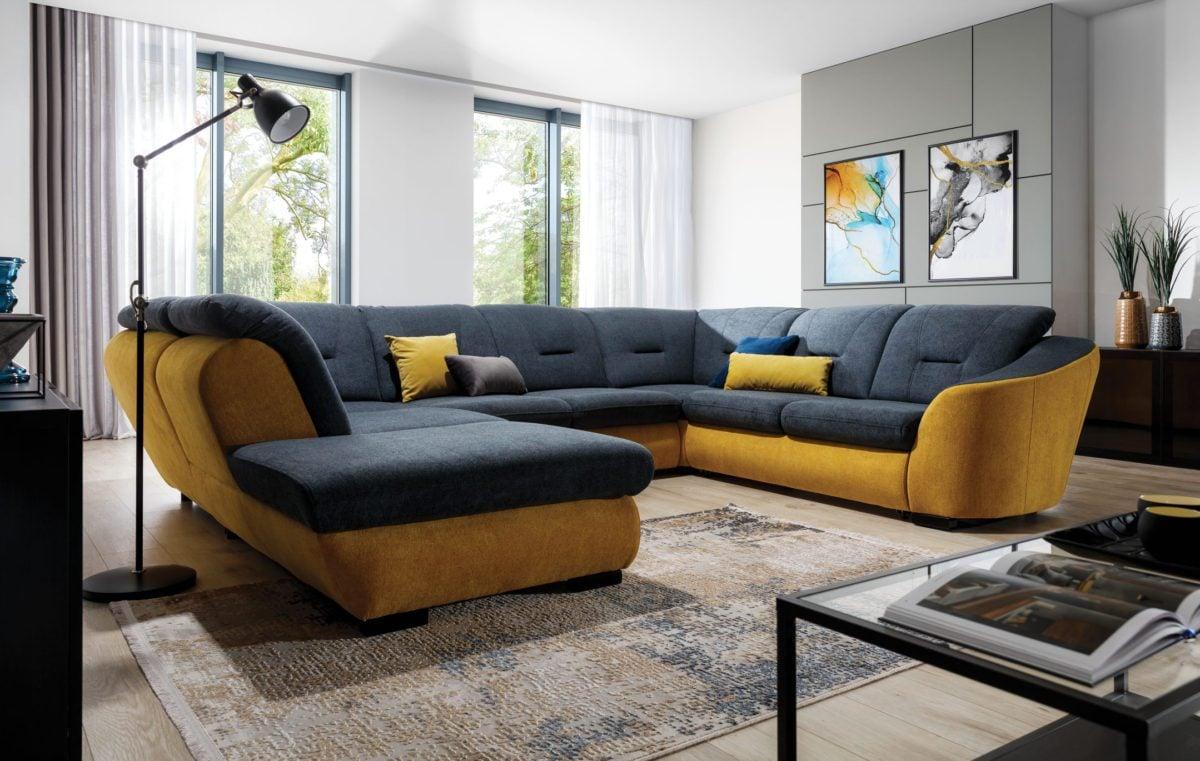Wohnzimmersofa in Gelb und Grau originell