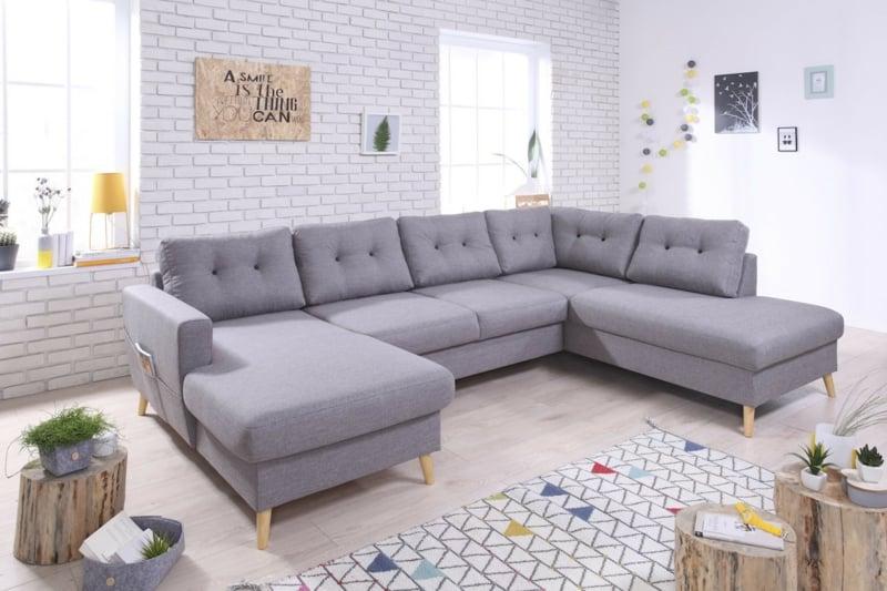 XXL Sofa gepolstert hellgrau