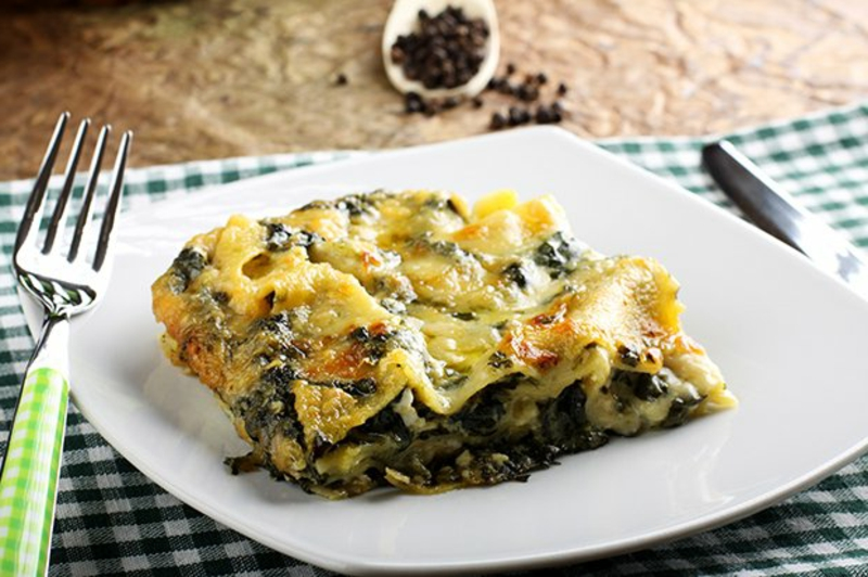 vegetarische Lasagne selber machen Spinat