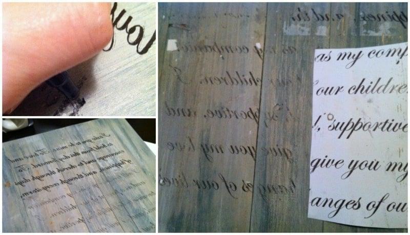 Text übertragen Holzbretter
