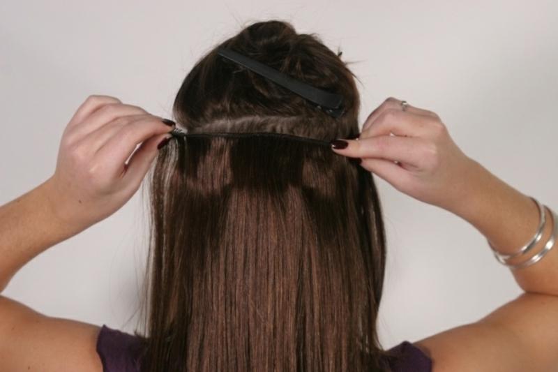 Haare dichter machen Tresse befestigen