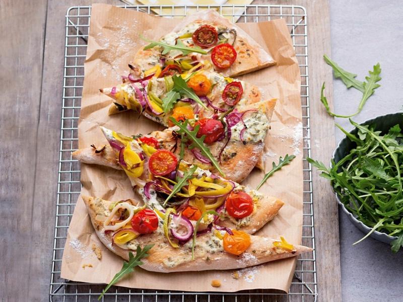 Flammkuchen backen Belag vegetarisch