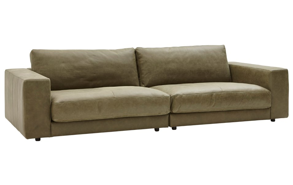 Sofa olivgrüne Lederpolsterung