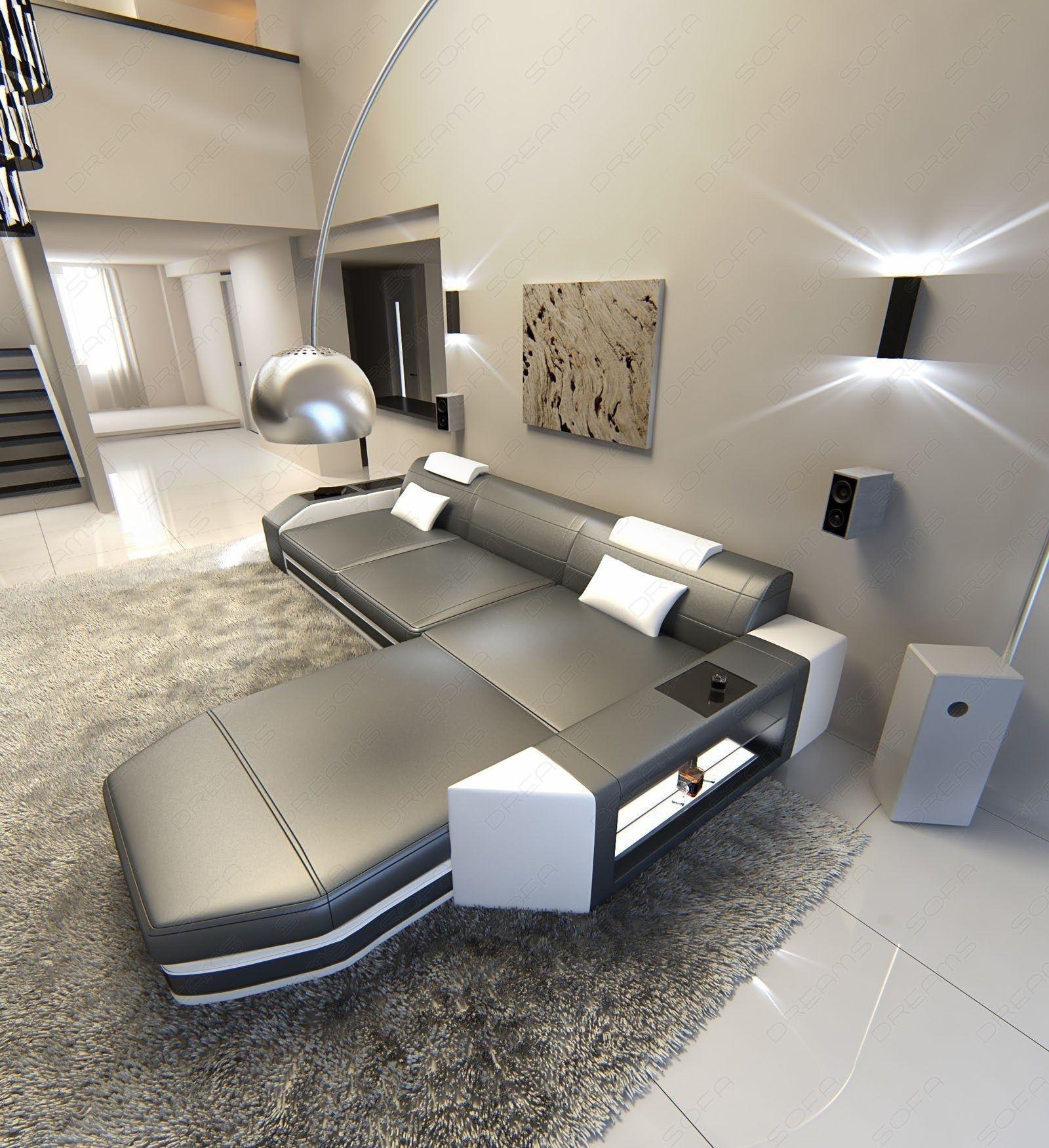 stilvolles Ledersofa Wohnzimmer für mehrere Personen