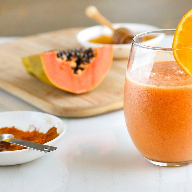 Papaya Smoothie servieren Idee