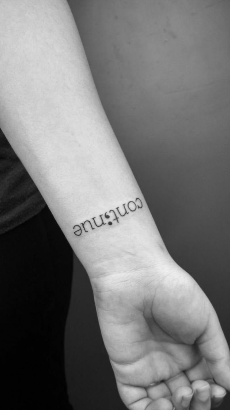 Depression Tattoo Fortgehen Semikolon